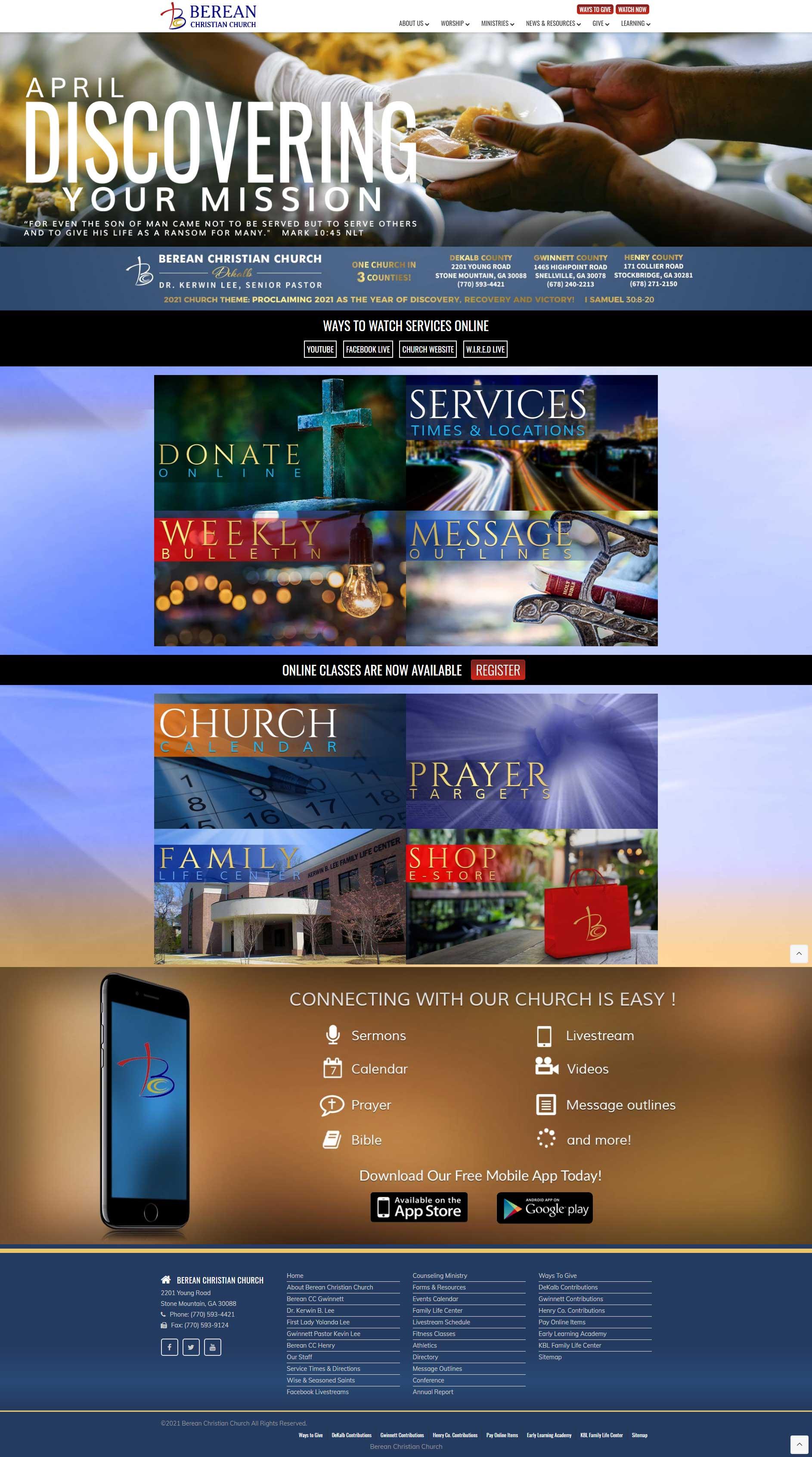 Berean Christian Church Website Design