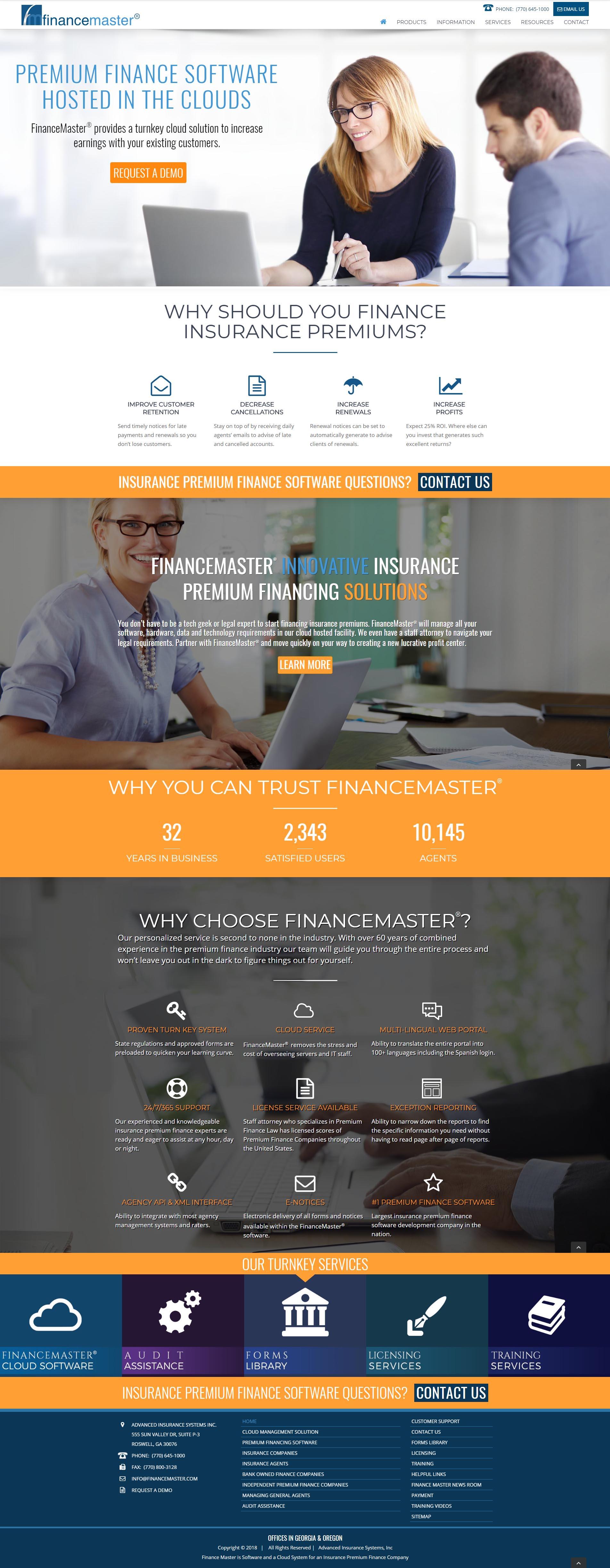 Financing Software Website Design Page